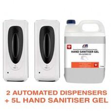 2 x AUTOMATIC HAND SANITISER DISPENSER + 5L Hand Sanitiser Gel